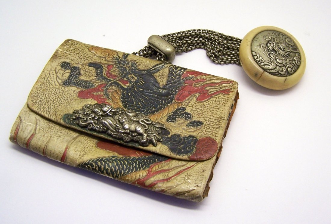 Japanese tooled leather Tobacco pouch dragon Manju