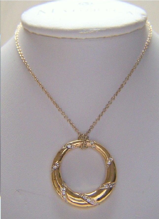 vermeil sterling silver Cz pendant necklace