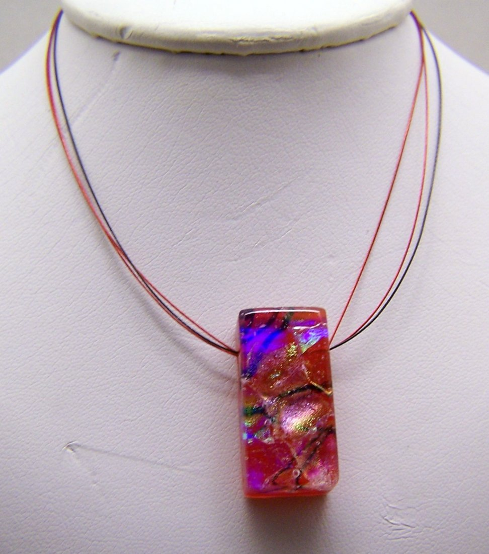lamp work glass pendant sterling silver cord chain