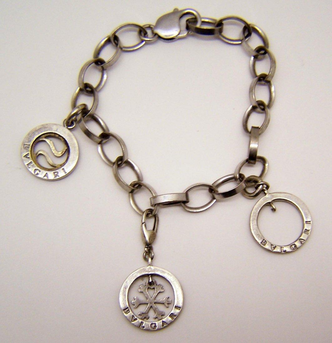 sterling silver designer signed charm bracelet