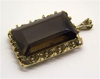 rare european 8k gold 39x23 smoky topaz pendant