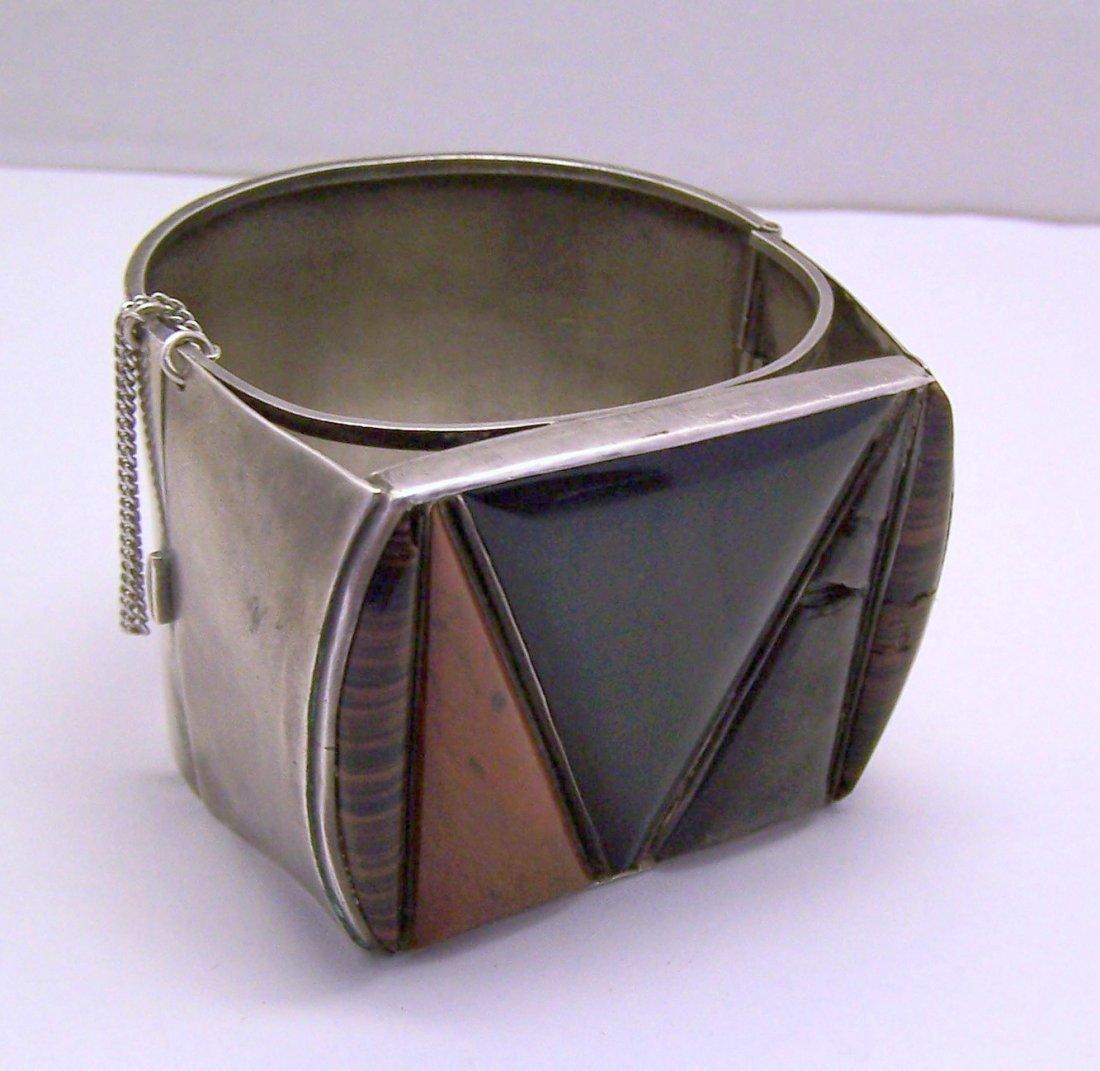 modernist ethnic sterling silver gemstone bracelet