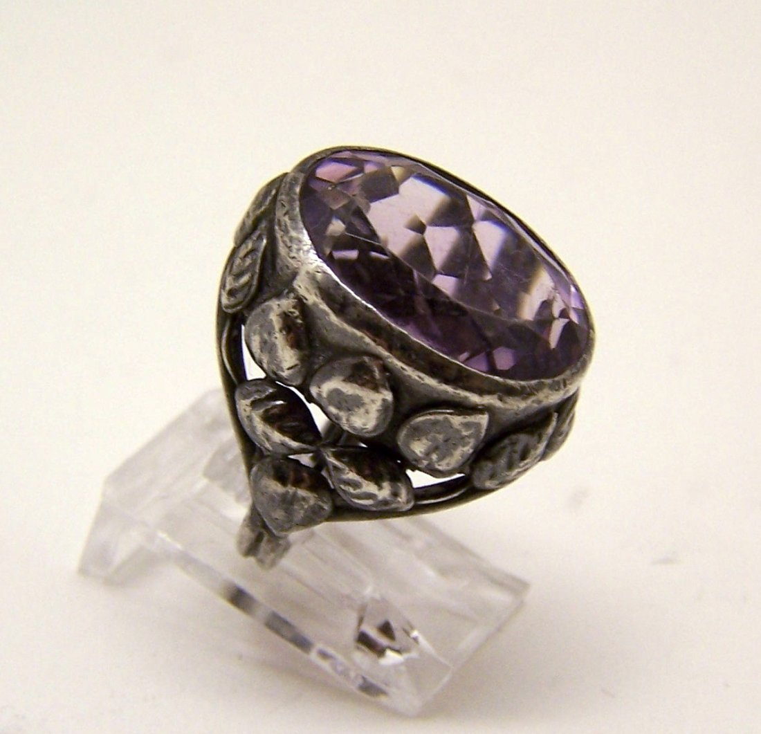 Art Deco sterling silver amethyst ring