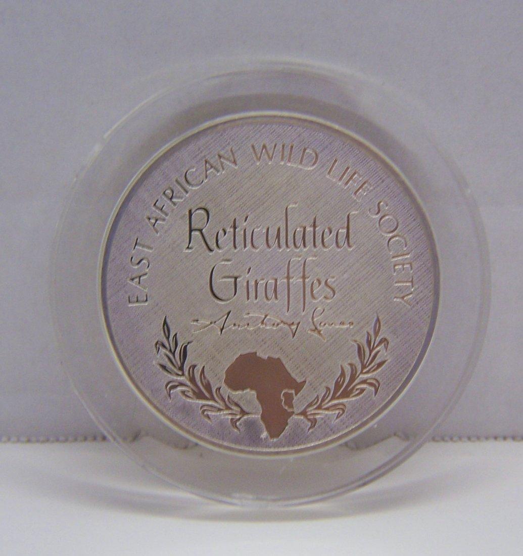 African Wildlife Society giraffes Sterling coin medal