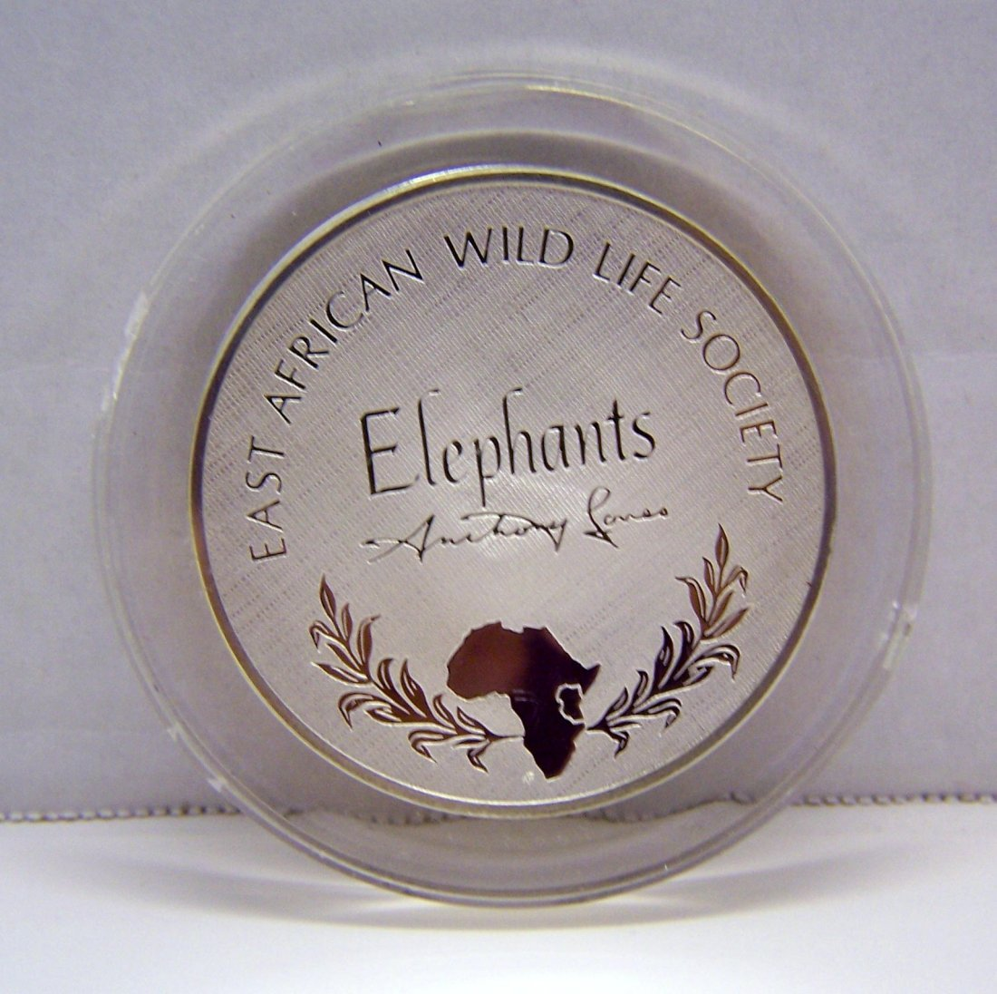 East African Wildlife Society elephants Sterling coin