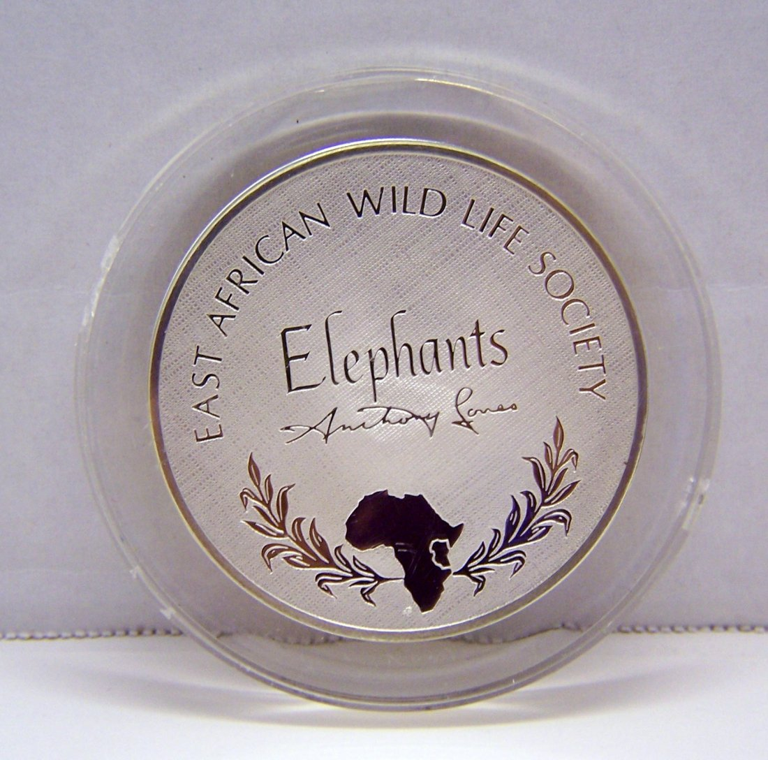 East African Wildlife Society elephants Sterling coin - 2