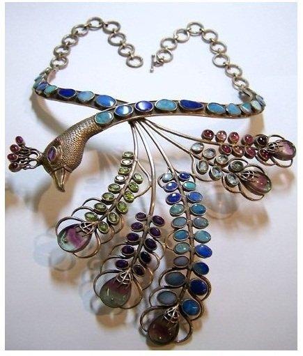 vintage Studio peacock sterling multi stone necklace