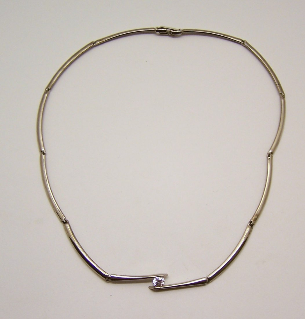 vintage silver tone CZ  necklace