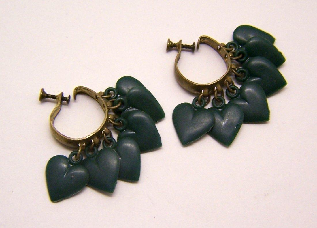 Art Deco celluloid brass screw back earrings