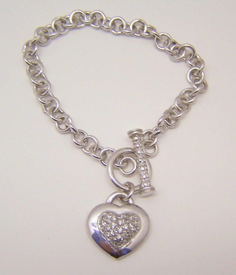 sterling silver Cz heart charm bracelet