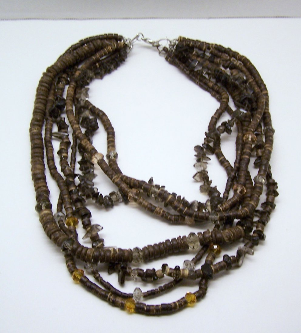 smoky quartz crystal wood beads necklace