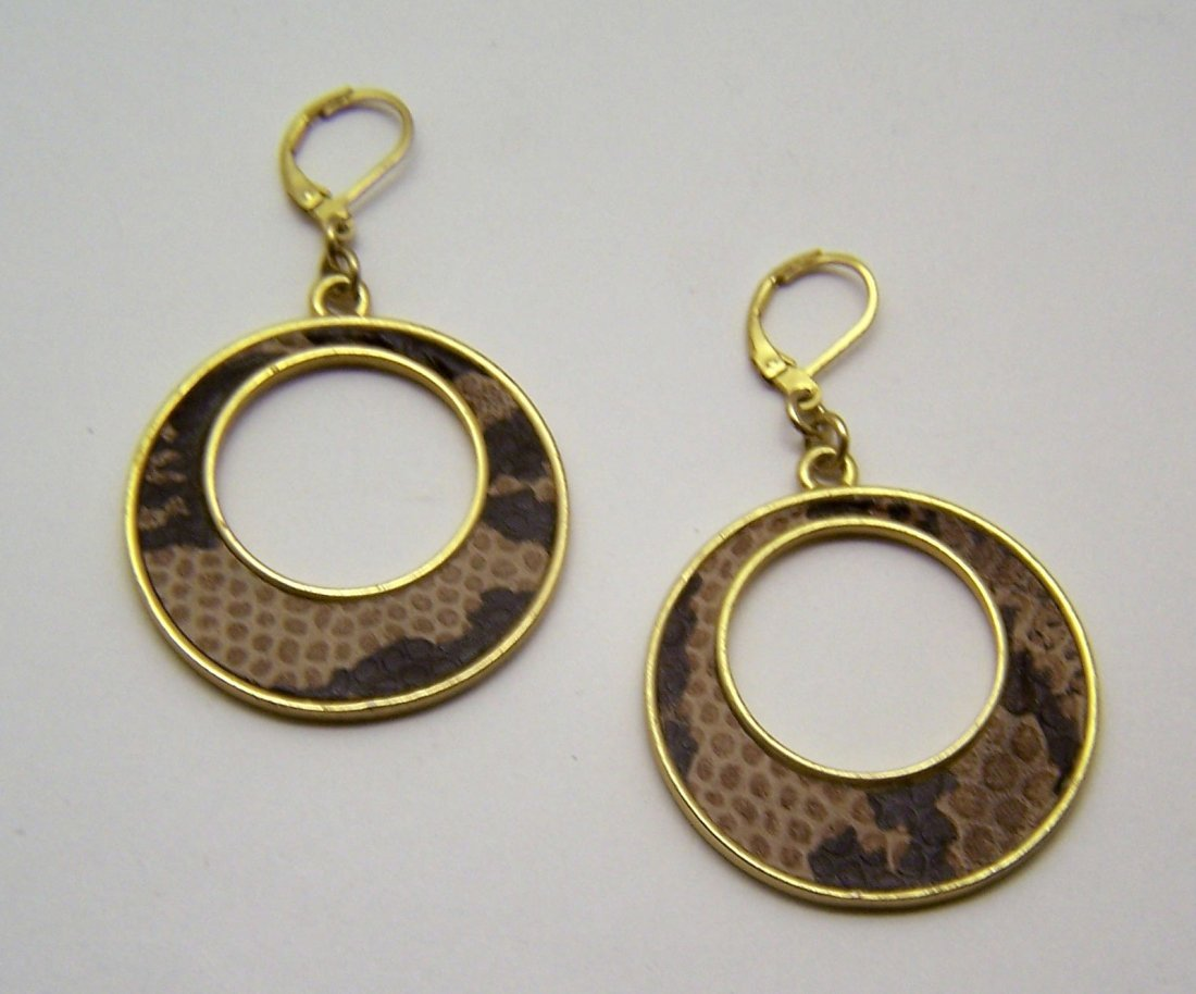 faux snake leather gold tone arrings