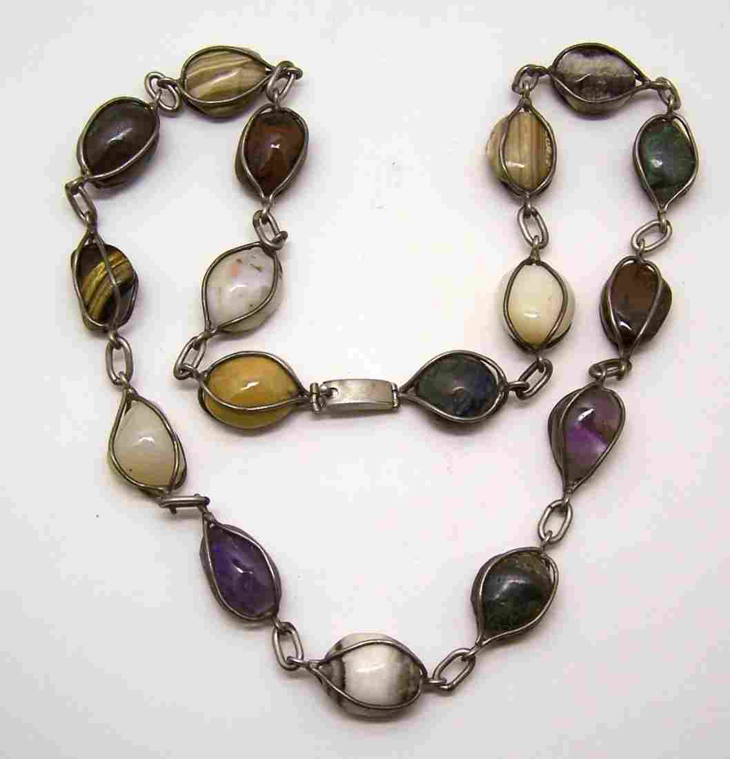 vintage sterling silver Mexican multistone necklace