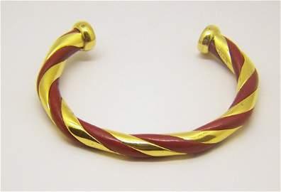 vintage HERMES gold tone leather cuff bracelet