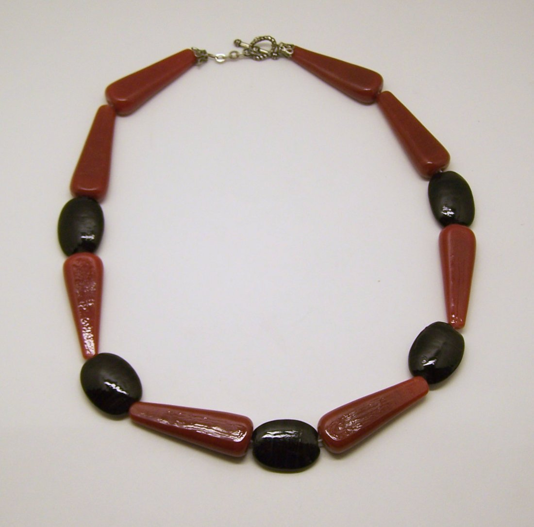 silver tone glass necklace