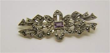 vintage sterling silver amethyst marcasite brooch pin