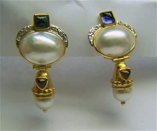 MB 14k mabe pearl amethyst garnet diamond drop