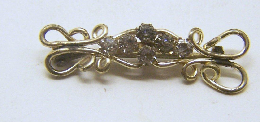 Art deco gold filled rhinestone brooch pin