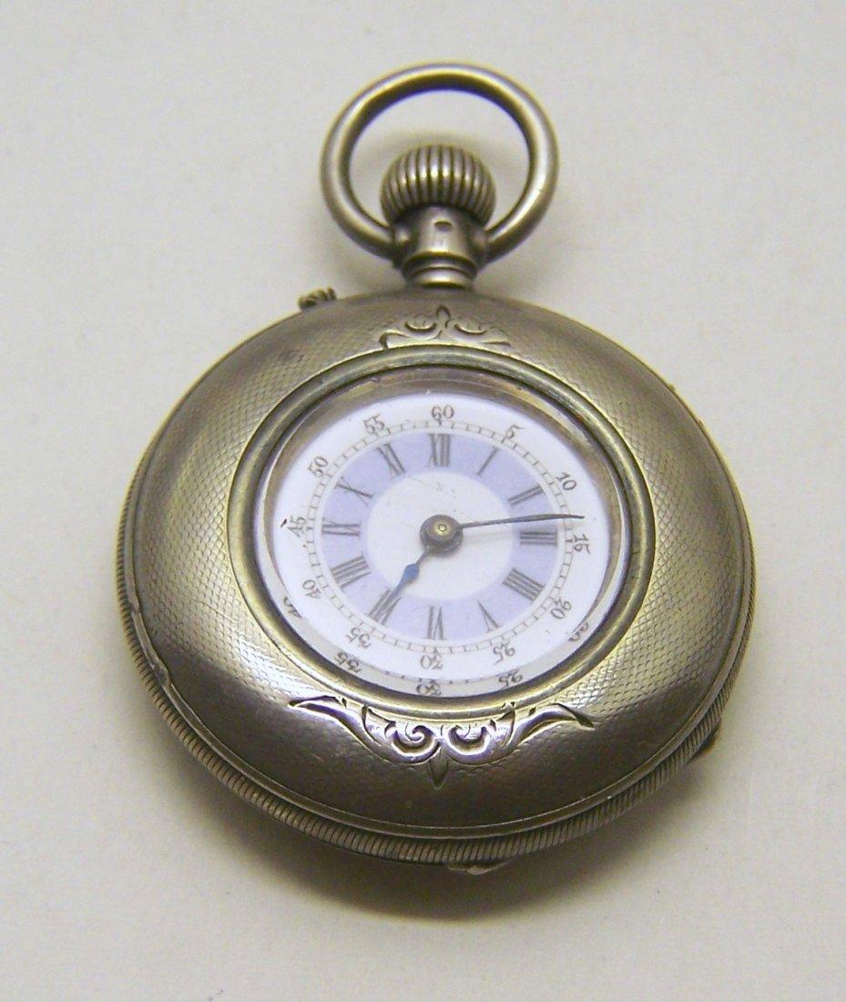 J GALLET 800 Silver Lady Racine Pocket Watch