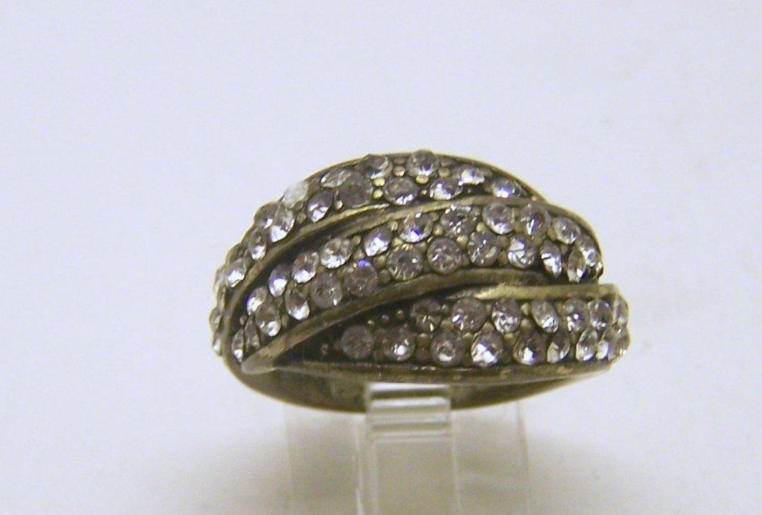 brass rhinestone ring