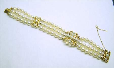 vintage 14K MIKIMOTO 3 strand akoya pearl bracelet