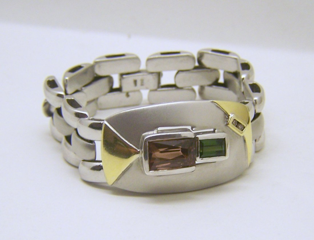 sterling silver 18k diamond tourmaline bracelet
