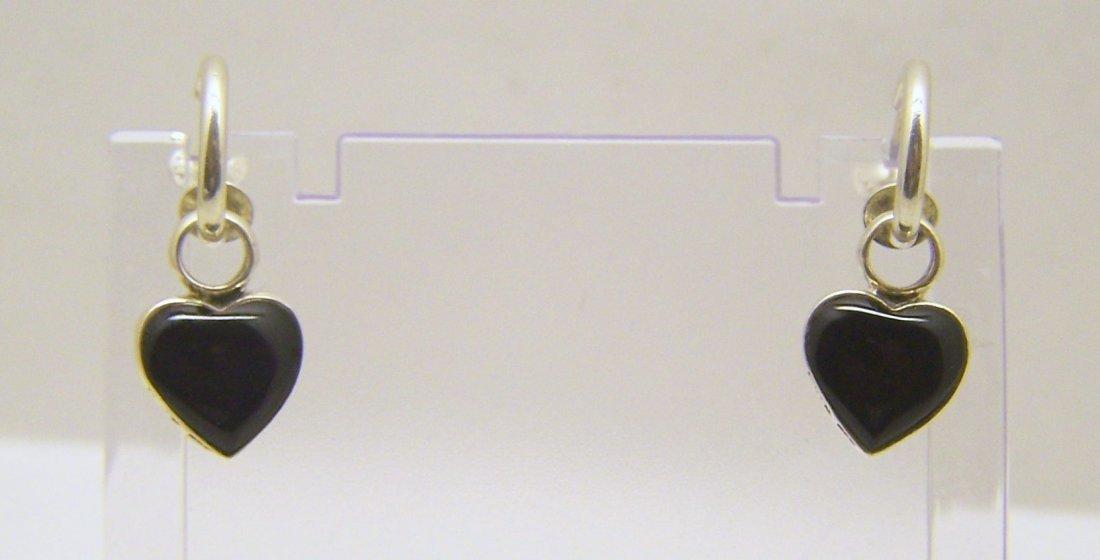 SX sterling silver 2 side onyx earrings
