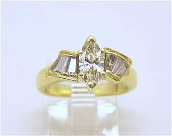 14k gold VS-1 marquese 1.35 ctw diamond ring