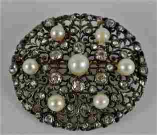 Edwardian 18k rose & mine cut diamond pearl brooch pin