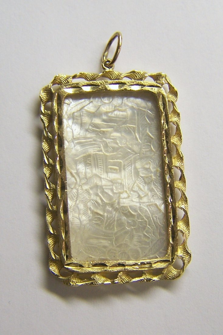 14k Mother Pearl Chinese Gaming Counter chip pendant