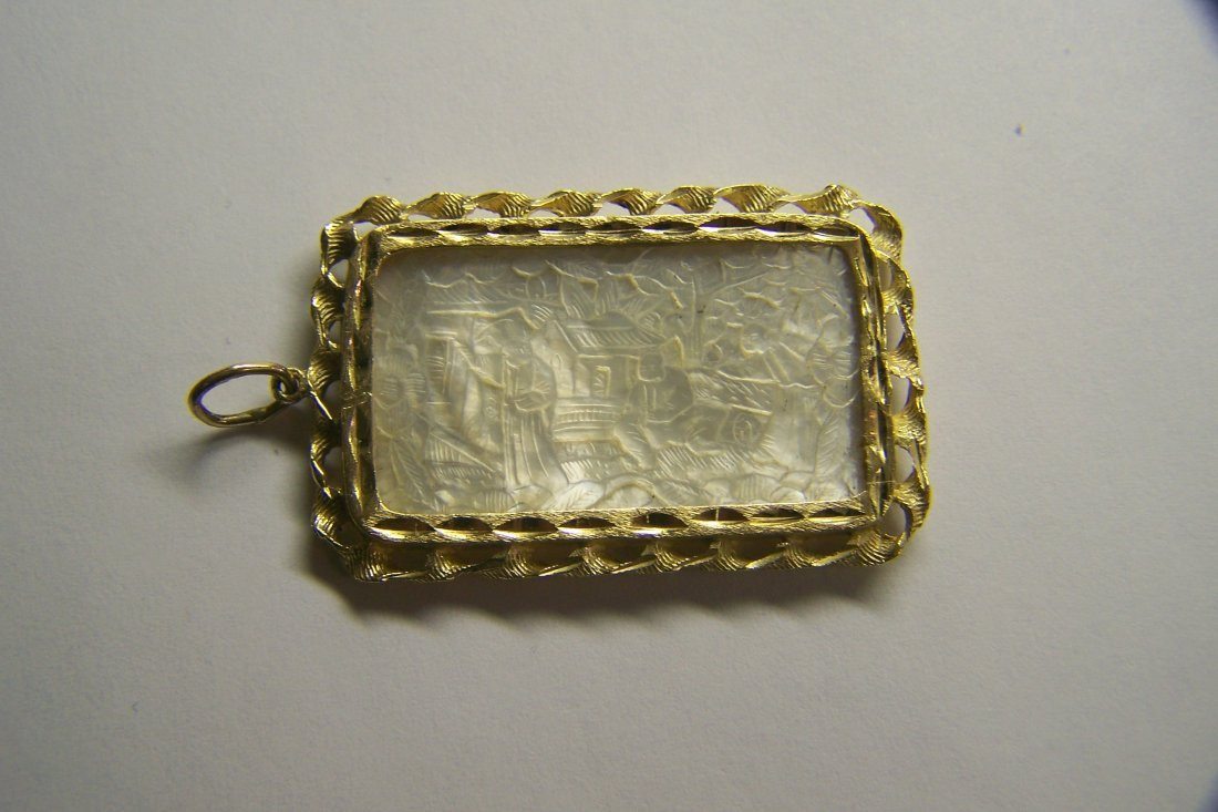 14k Mother Pearl Chinese Gaming Counter chip pendant - 3