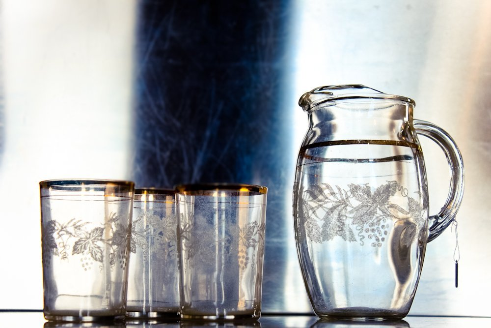 EAPG Etched Glass Pitcher & Drinking Glassware Applied