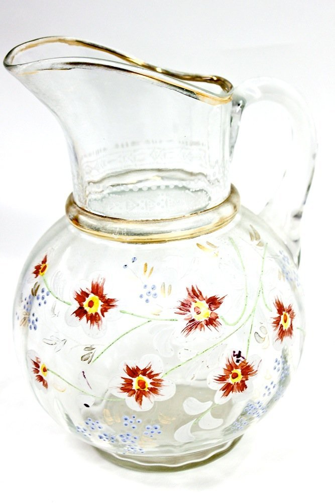 Antique Moser Bohemian Floral Enamel Pattern Glass