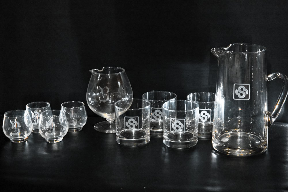 "Etched Monogram Letter Initial Glassware Lot ""S"""