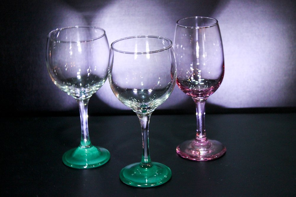Libbey Colored Glass Wine Stemware (3)