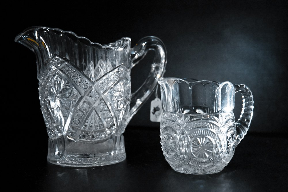 EAPG Uranium Glass Fluted Creamer Syrup Pitchers