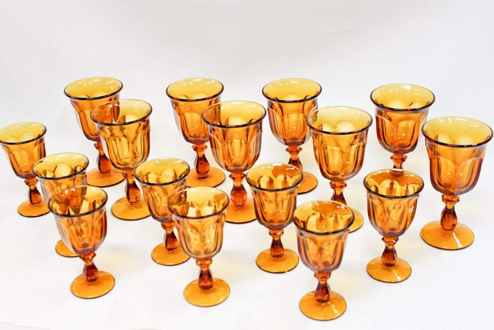 LIBBEY Glass Amber Wine Goblets Stemware 2 sizes (16)