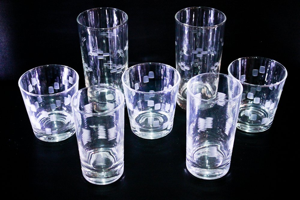 Vintage Etched Glassware Tumblers Drinking Glasses (7)