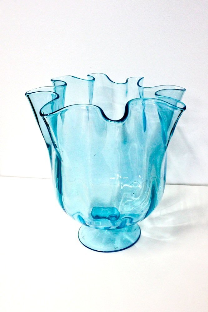 Blenko Hand Blown Aqua Art Glass Vintage Blue Large