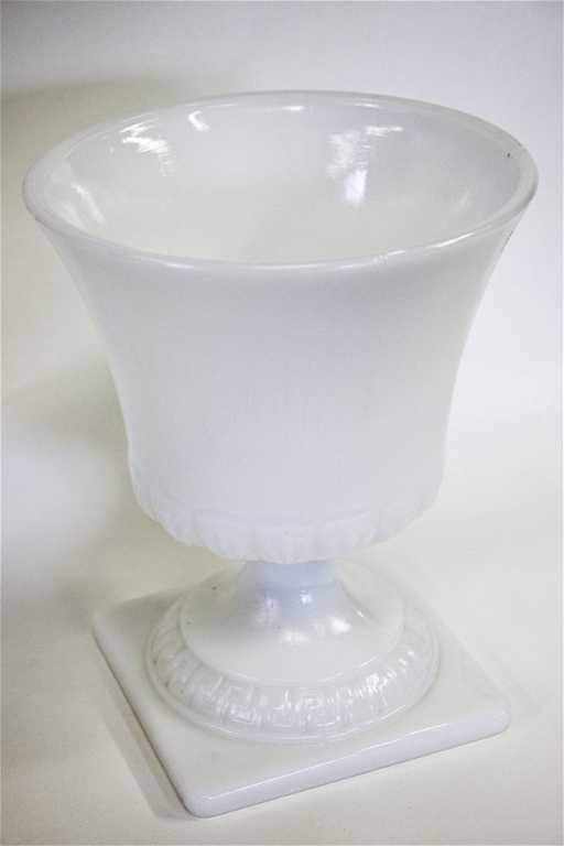 1960s E O Brody Co Milk Glass Large Pedestal Vase