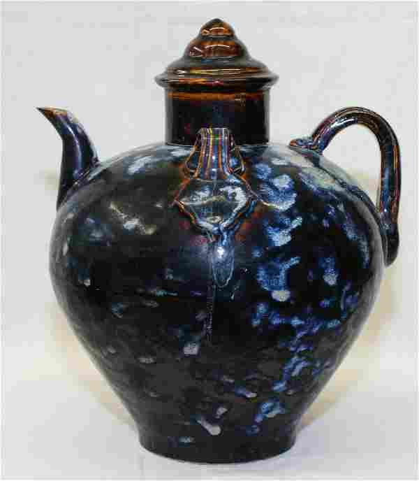 Black glaze ewer with cover. Song Period.