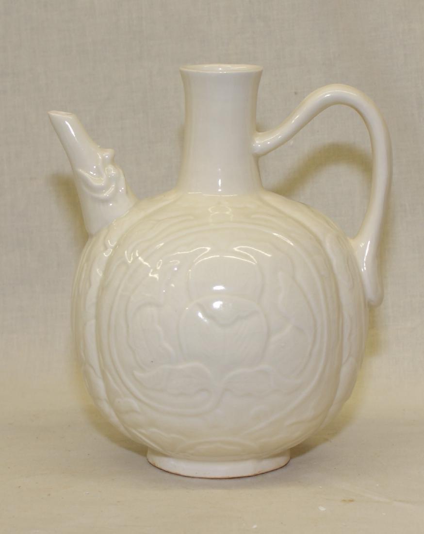 White glaze ewer. Song thru Ming Period.
