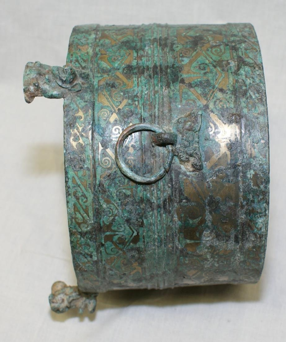 Archaic bronze vessel with inlaid. Han/Warring States - 8