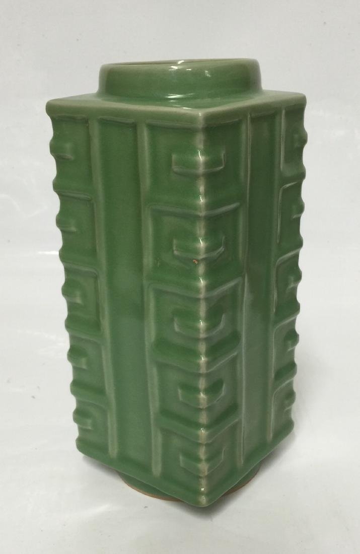 Green glaze gong shaped vase. Song thru Ming.