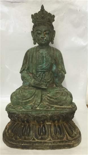 Large bronze Buddha. Probably Ming Period.
