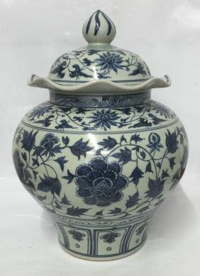 Blue and white jar with cover. Yuan thru Early Ming.
