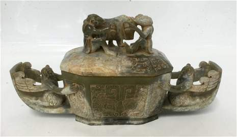 Archaic jade vessel with cover. Han Period.