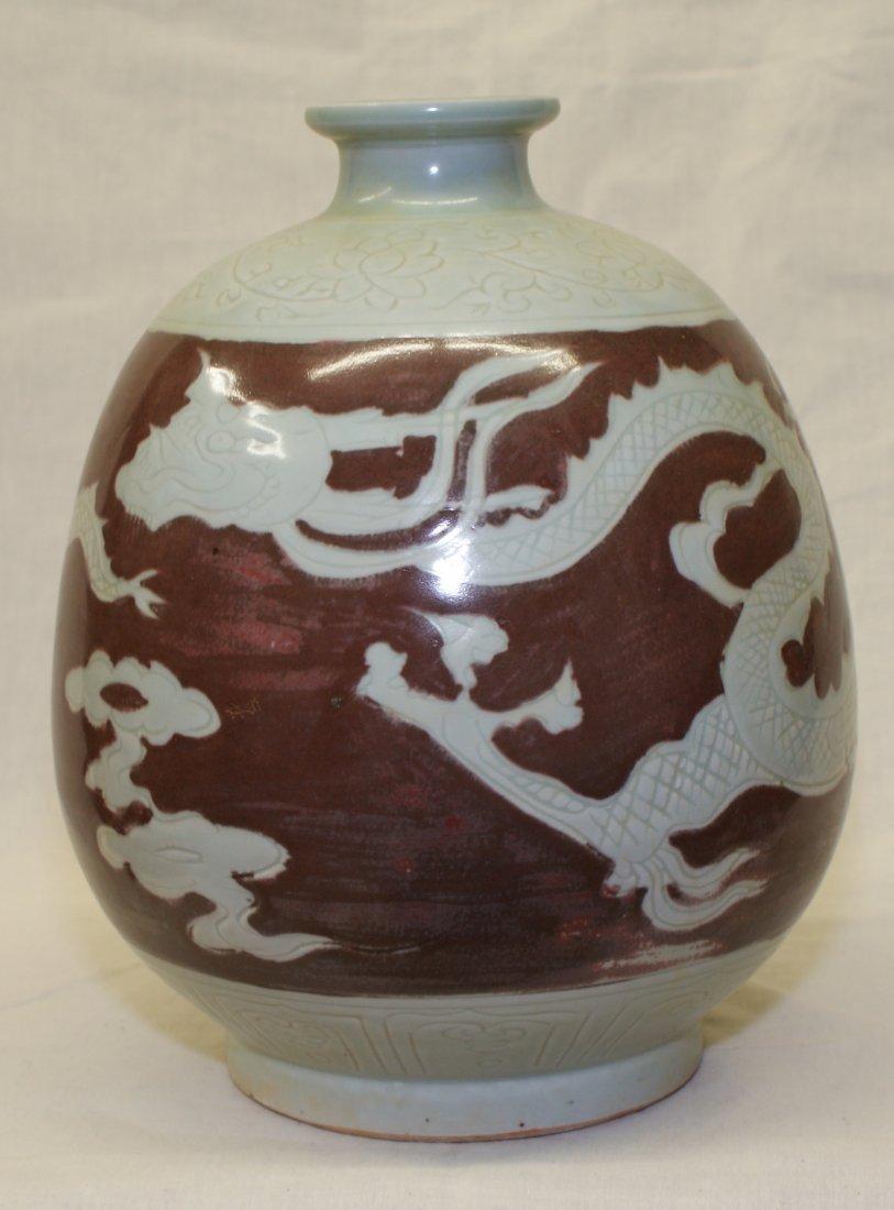 Underglaze red dragon vase.  Yuan thru Ming Period.