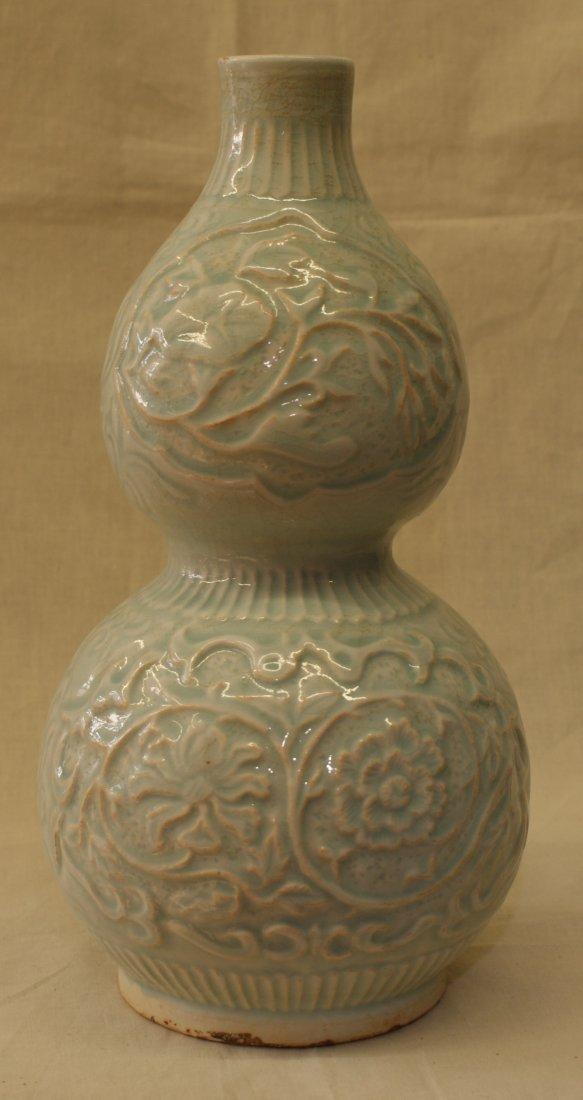 Yingqing double gourd vase.  Yuan thru Ming Period.