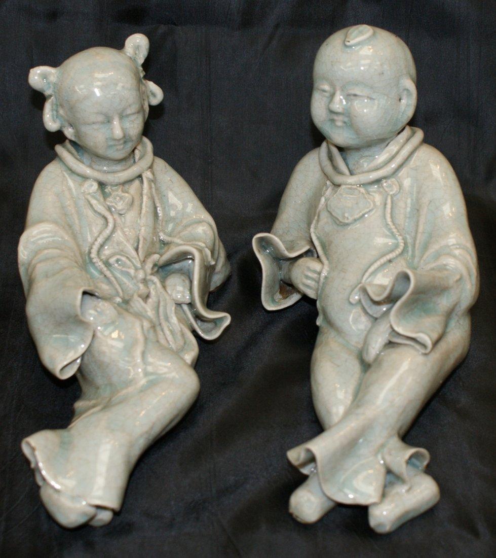 Yingqing boy and girl.  Qing period.